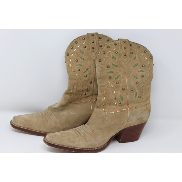 Cole Haan Shoes - Cole Haan | western gold trim suede cowgirl boots